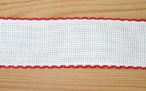 Bande Aïda 5 cm Blanc Liseré Rouge  par 50 cm