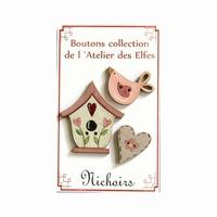 Boutons Nichoirs roses Atelier des Elfes