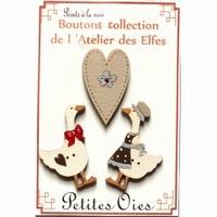 Boutons Les Petites oies et le coeur Atelier des Elfes